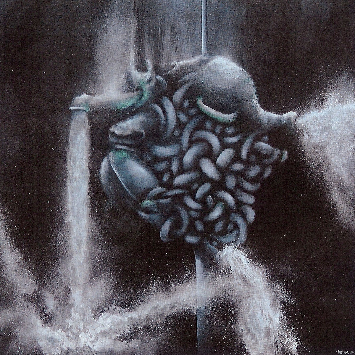 "primal being, oil on canvas, 20""x20"" 2013 by Brian O'Malley"