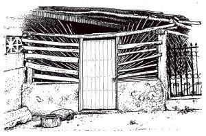 Casida facade, Bacalar, pen & ink by Brett Newburn