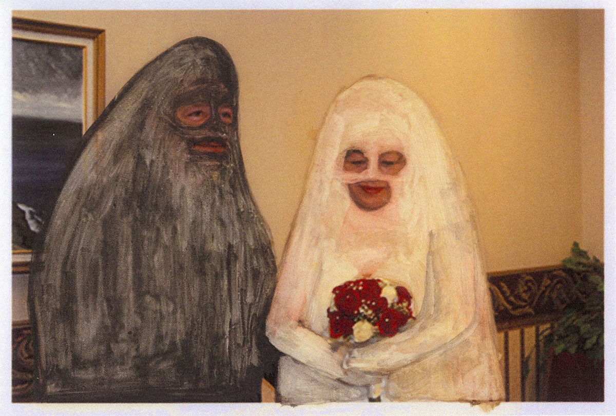 Newlyweds, found object, mixed media, photography by Ashley Norman