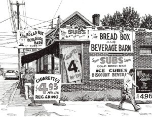 Bread Box and Beverage Barn, pen and ink drawing by Bill Paarlberg