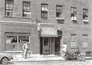 Wally's Cafe, pen and ink drawing by Bill Paarlberg