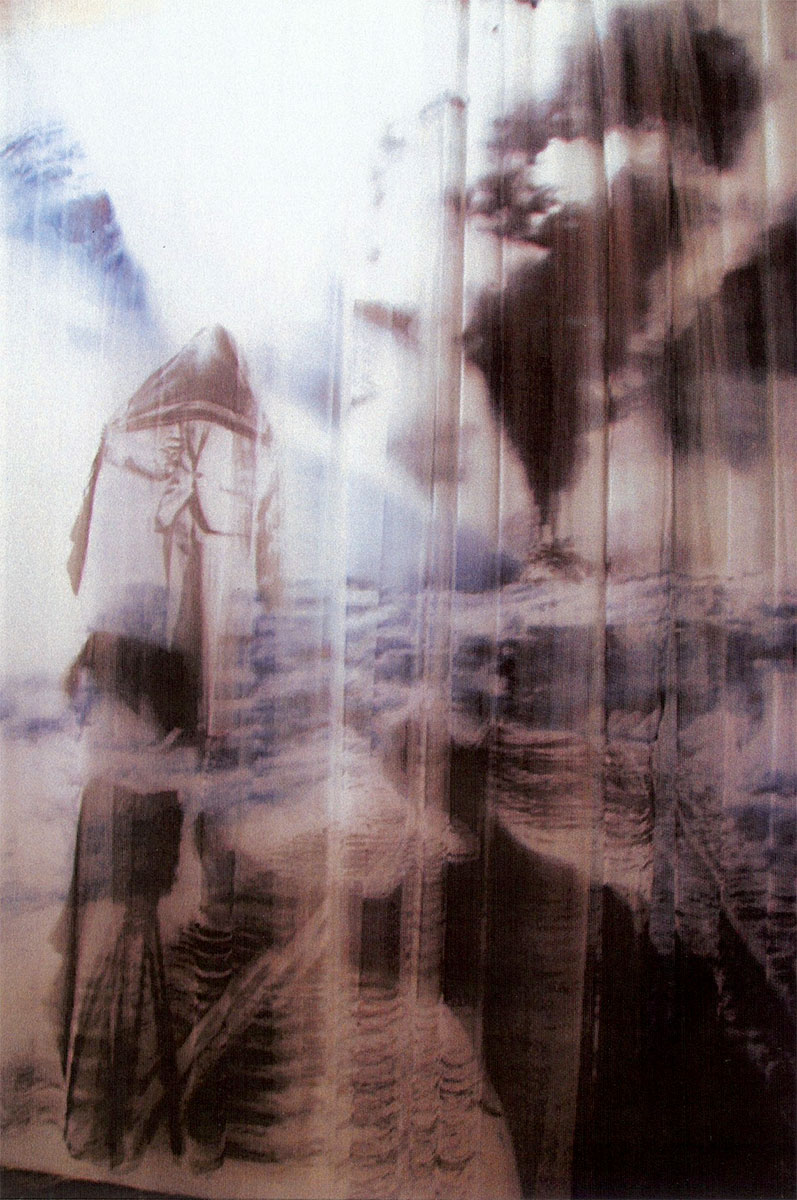 The Veil Suite, 2007, ink on pleated illusion (tulle curtains), detail from a room of wall size paintings, 14x22x28 by Izhar Patkin