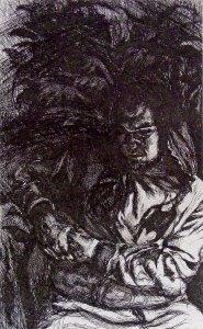 Batboy, intaglio and drypoint by Patricia Schappler
