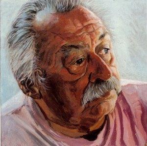 "Jim Harrison, black oil on copper, 6""x6"", 2005 by Jack Richard Smith"