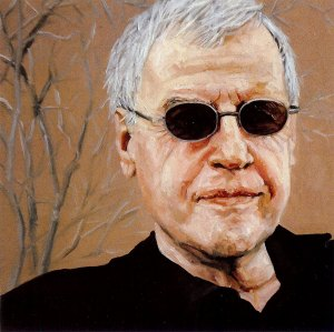 """Charles Simic, black oil on copper, 6""""x6"""", 2007 by Jack Richard Smith"""