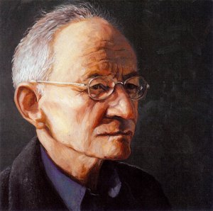 """Ted Kooser, black oil on copper, 6""""x6"""", 2008 by Jack Richard Smith"""