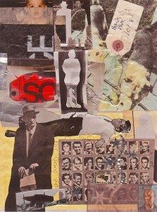 Head Shots, mixed media collage by Wayne Atherton