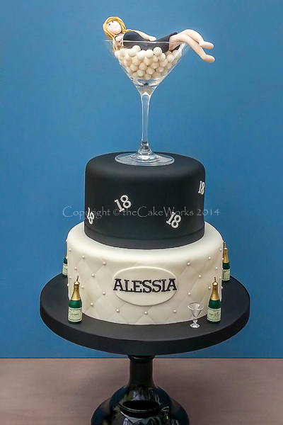 18th Birthday Cake With Champagne And Pearls O Cakes