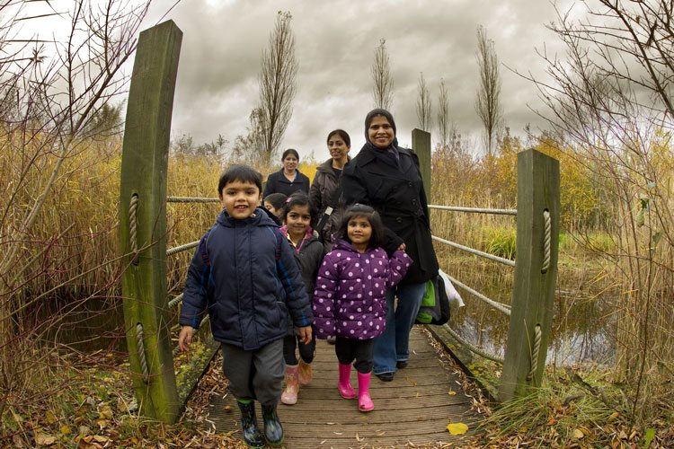 A family using newly built walking trails. Credit: Ben Hall/2020VISION