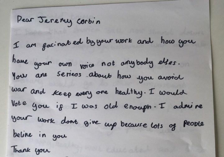 Letter to Jeremy Corbyn