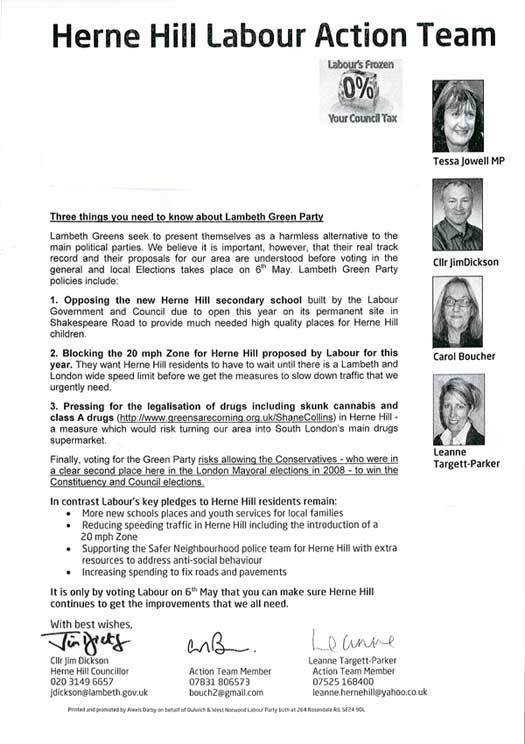 Lambeth Labour campaign literature from 2010