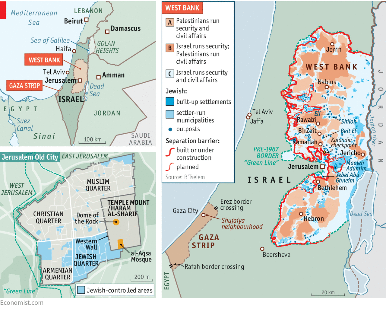 Map showing Israeli control of West Bank and Gaza