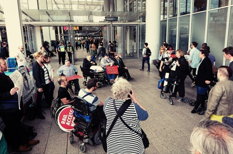 People protesting at Govias instructions to staff about disabled people