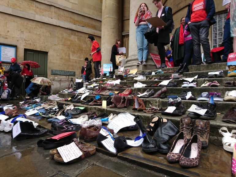 The shoes at the Missing Millions demo