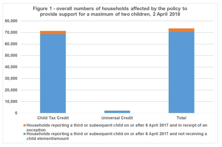 Number of household affected by the two child limit