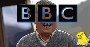 Man laughing with the BBC logo over his face