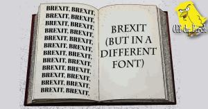 An open report with the word 'Brexit' written on it over and over