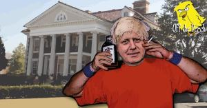 Boris Johnson with booze and a fag outside a mansion