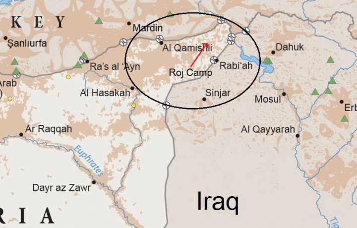Roj Camp is located where Syria meets Turkey and Iraq