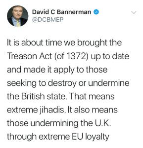 MEP David Bannerman deleted tweet