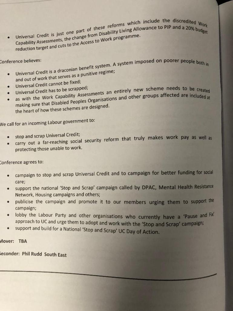 Universal Credit Unite motion page three