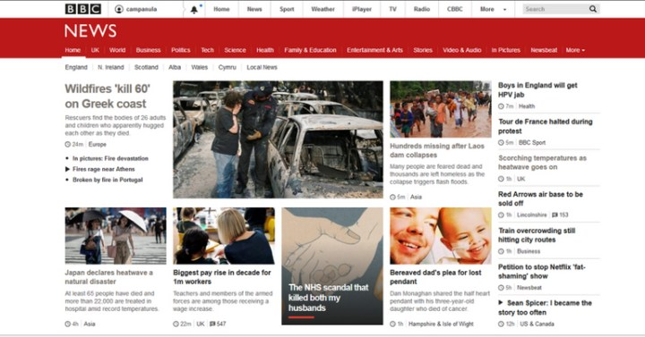 screenshot of BBC website