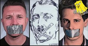 Tommy Robinson, Adolph Hitler, and Milo Yiannopoulos with tape over their mouths