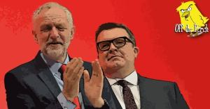 Jeremy Corbyn laughing with Tom Watson behind him