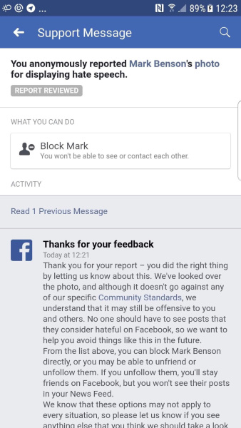 Complaint of post violating guidlines ejected by Facebook