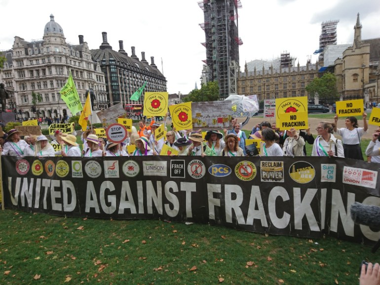 United against fracking banner