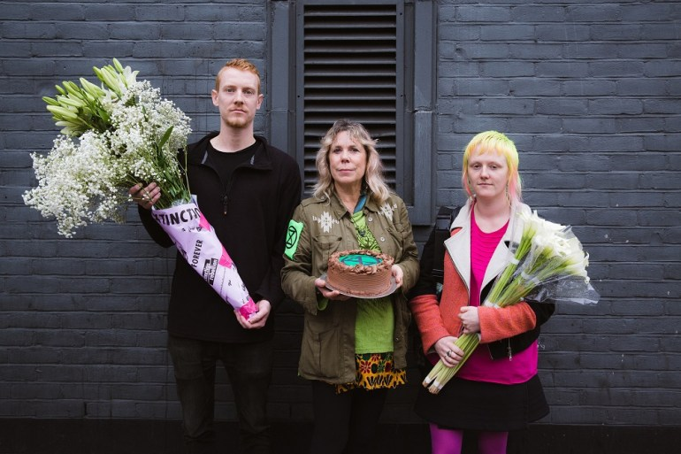 Cake and flowers for Greenpeace staff