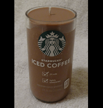 Hand made coffee scented sox wax candle in re-purposed Starbucks container