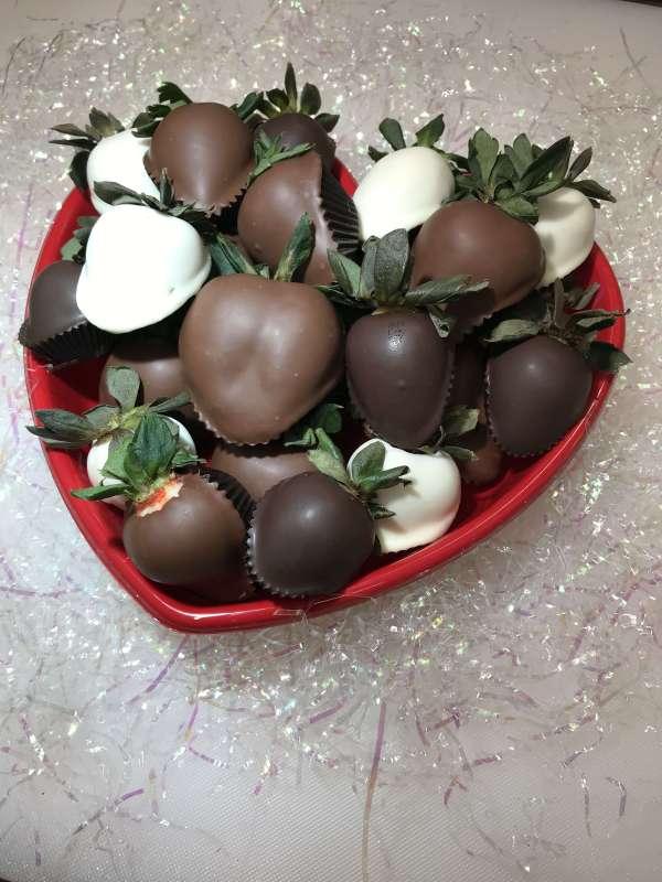 Heart Box of chocolate dipped strawberries.