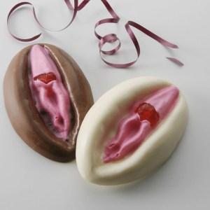 Dark and White chocolate vagina with cherry