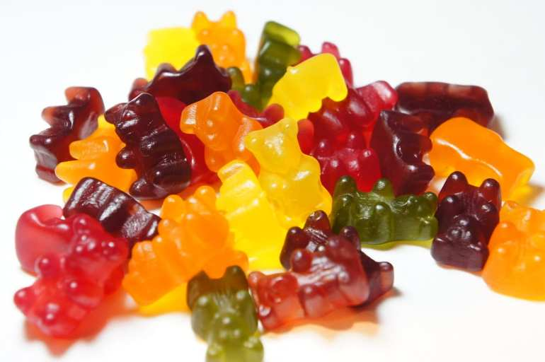 Gummy bears piled on top of each other