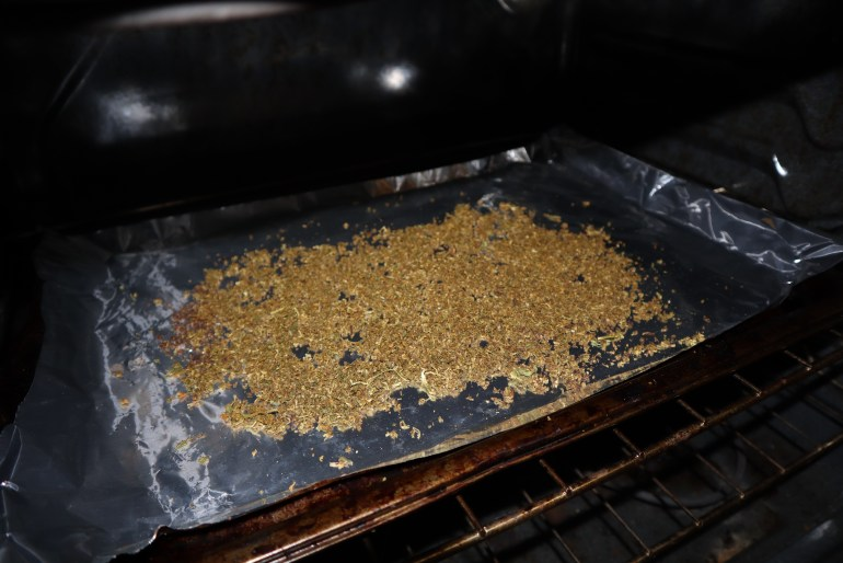 cannabis in oven after being decarboxylated.
