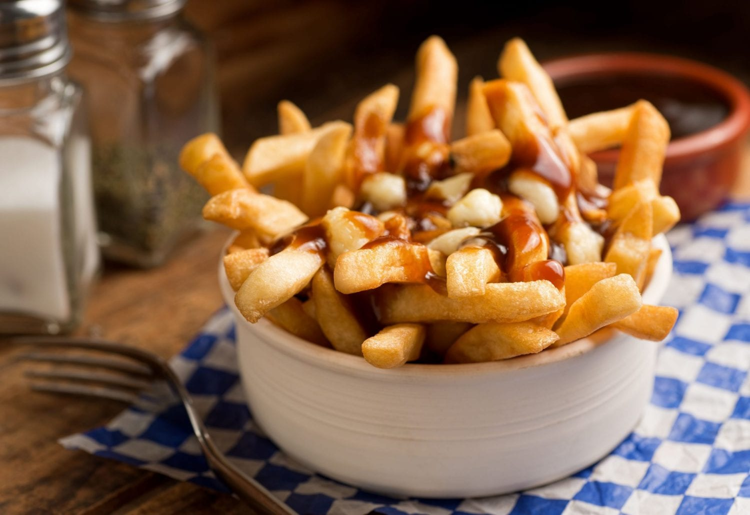 close up image of cannabis infused poutine on blue checkered tablecloth with a fork beside it and salt and pepper beside them