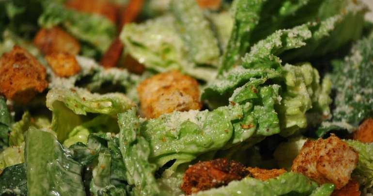 macro of cannabis infused caeser salad. A weed edible dinner recipe.