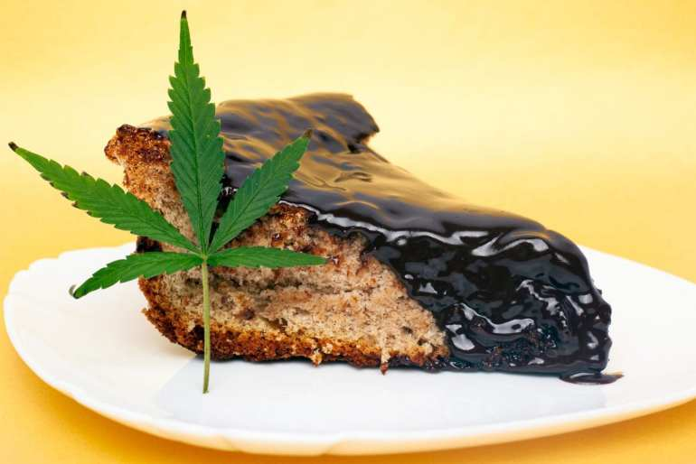 space cake on a white plate. A weed leaf is lying against the piece of cake.