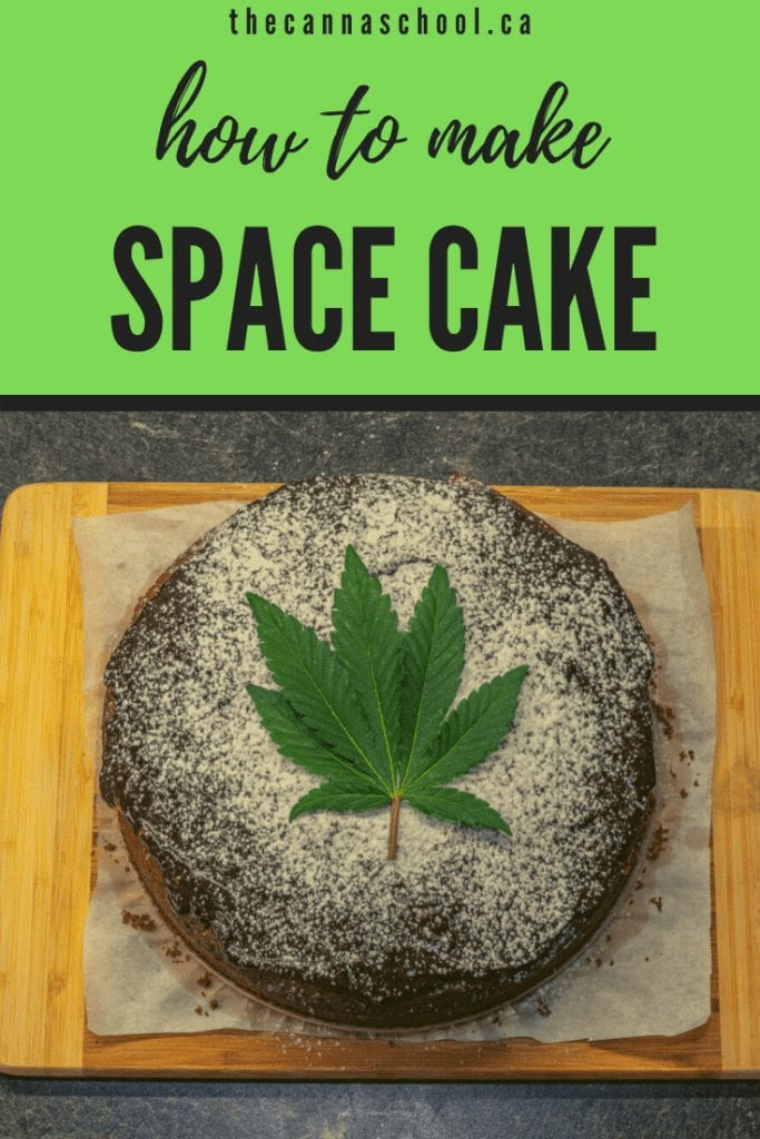 space cake with cannabis leaf in the middle on top of a cutting board.