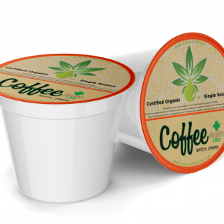 cbd coffee single serve k-cups made by the company nakedcbd. Two k-cups sit beside each other.