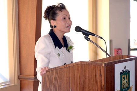 "Mamie Yong Maywhort speaks at the ""California's Strongest People You Can Bank On"" awards in Long Beach on Nov. 13."