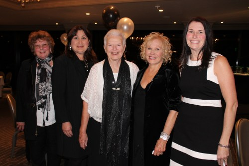 From (L to R): Friends of the Library President Mary DeMers with honorees Dr. Carol Daderian and Jean Vicenzi, WomanSage emcee and nominator Donna Friess and honoree Katie Shreve at the Family Matters awards dinner in Costa Mesa. Photo: Barbara Kimler