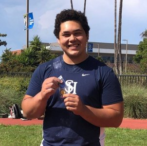San Juan Hills' Sean Rhyan won the CIF-SS Division 1 shot put title with a throw of 59 feet, 5 inches. Rhyan qualified for State with a second-place throw at Masters. Photo: San Juan Hills High School