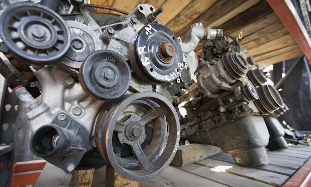 Old car engines in a scrap yard