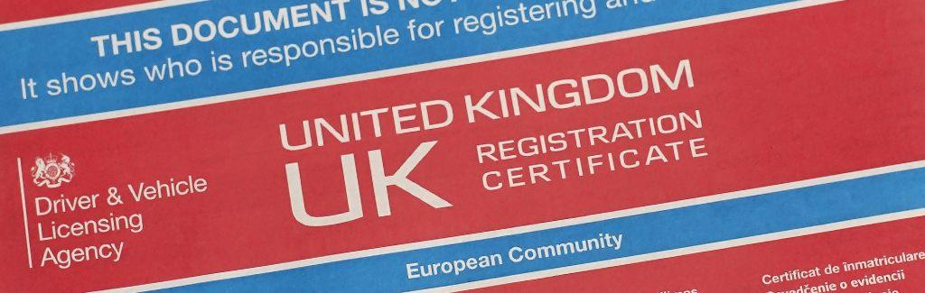 V5C logbook, UK registration certificate