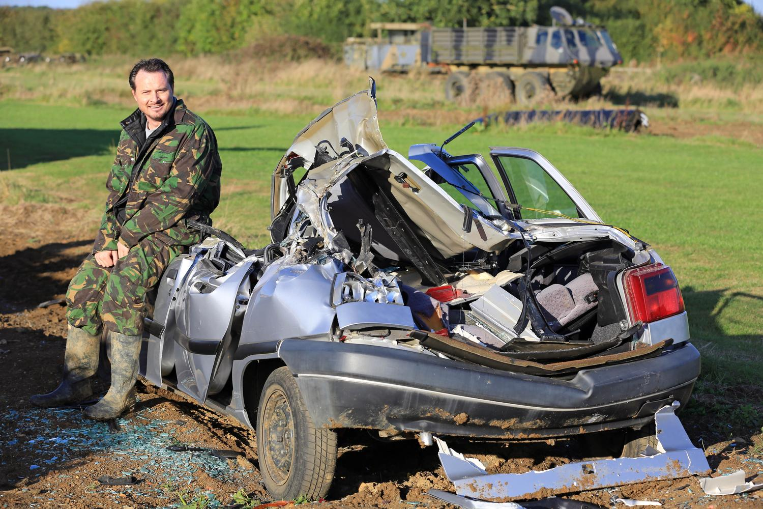 What was left of the car after The Car Expert mowed it down with a Chieftain tank