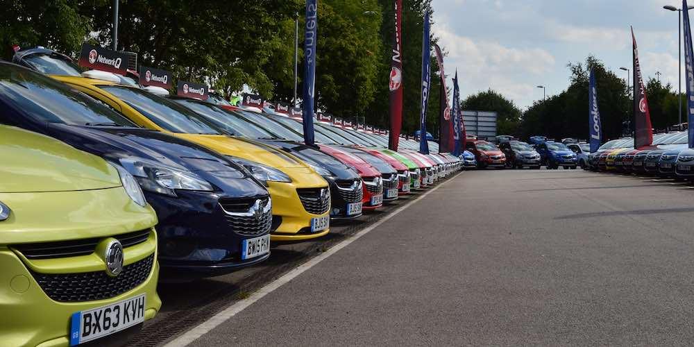 Vauxhall dealer forecourt full of part-exchange used cars