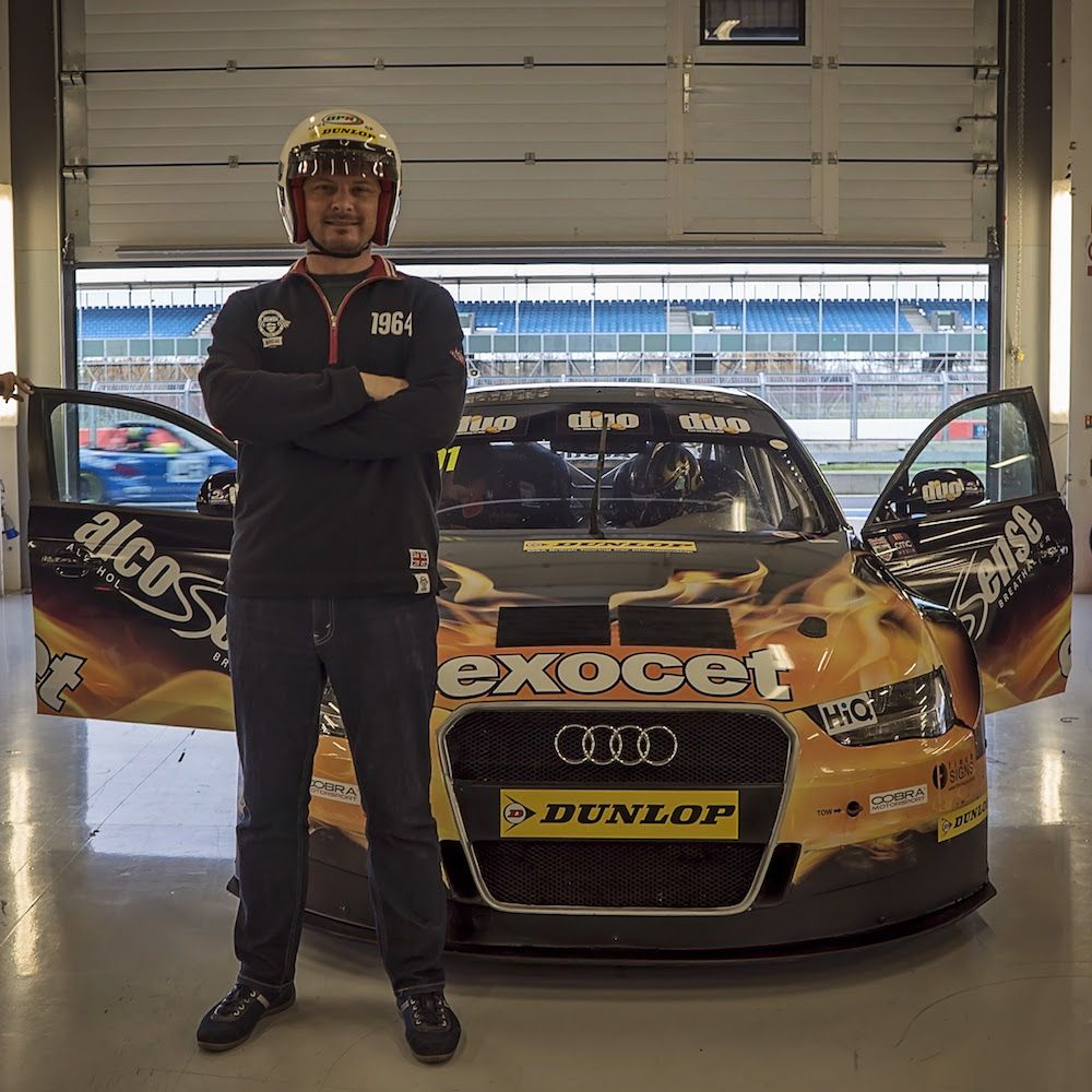 Stuart from The Car Expert, ready to hit the track in Rob Austin's BTCC Audi A4 at Silverstone