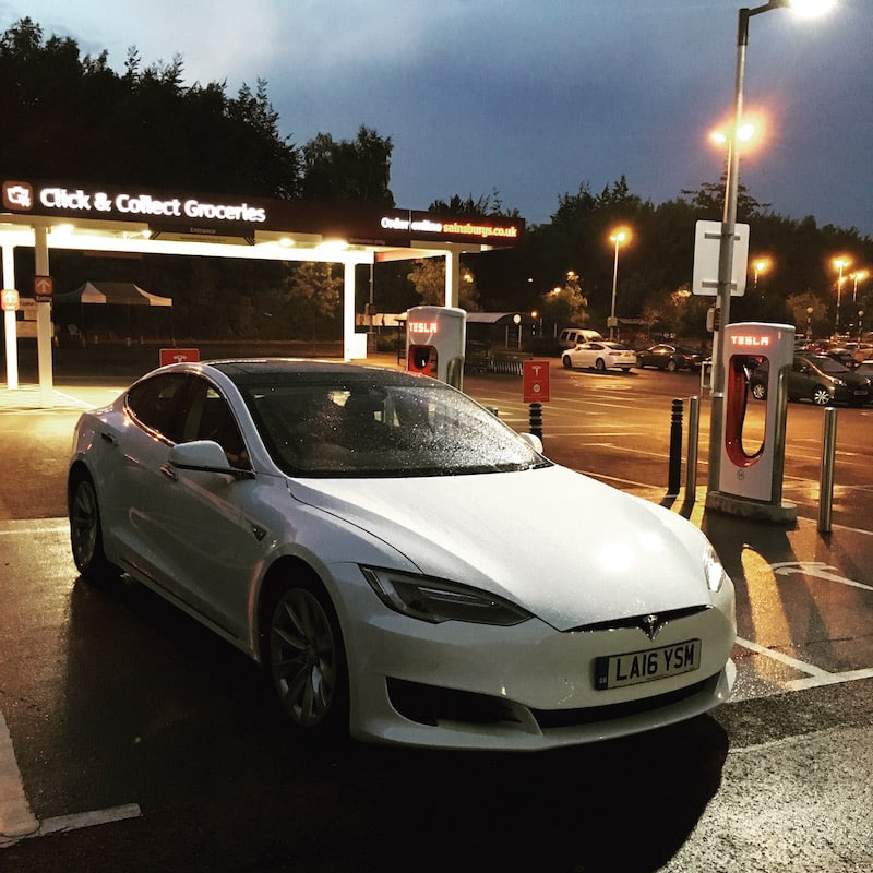 Tesla Model S at a Supercharger in Winchester, UK
